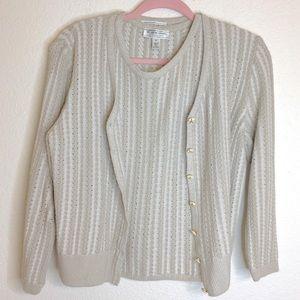 St John Sweater Set Tan Cream Small Cotton Blend